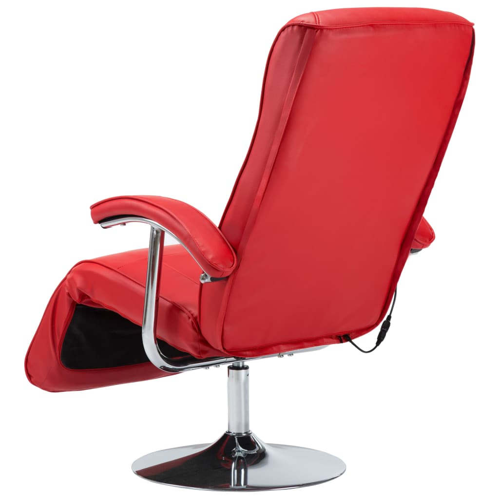 Massage Chair Red Faux Leather 8