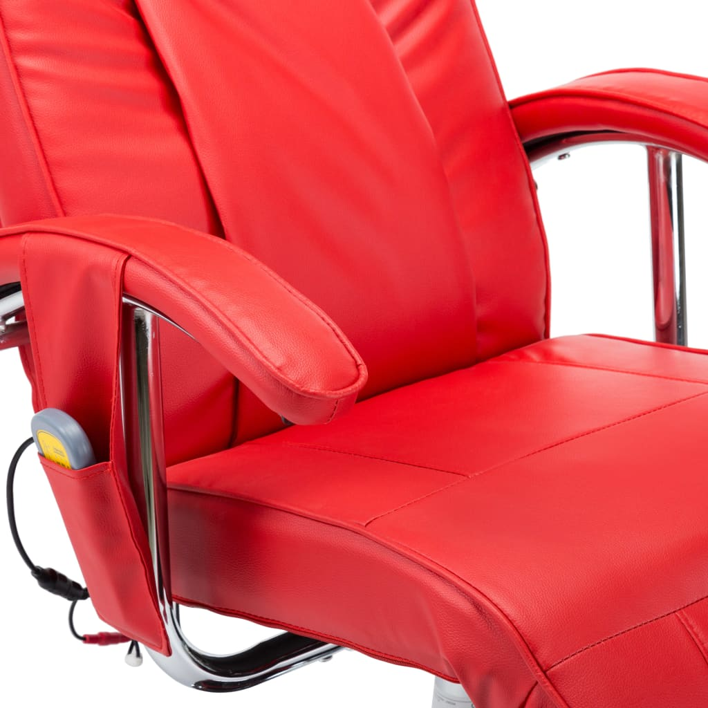 Massage Chair Red Faux Leather 9