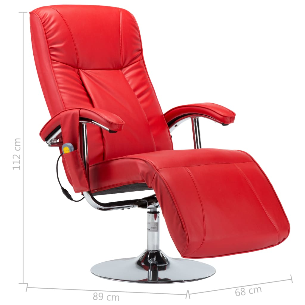 Massage Chair Red Faux Leather 10
