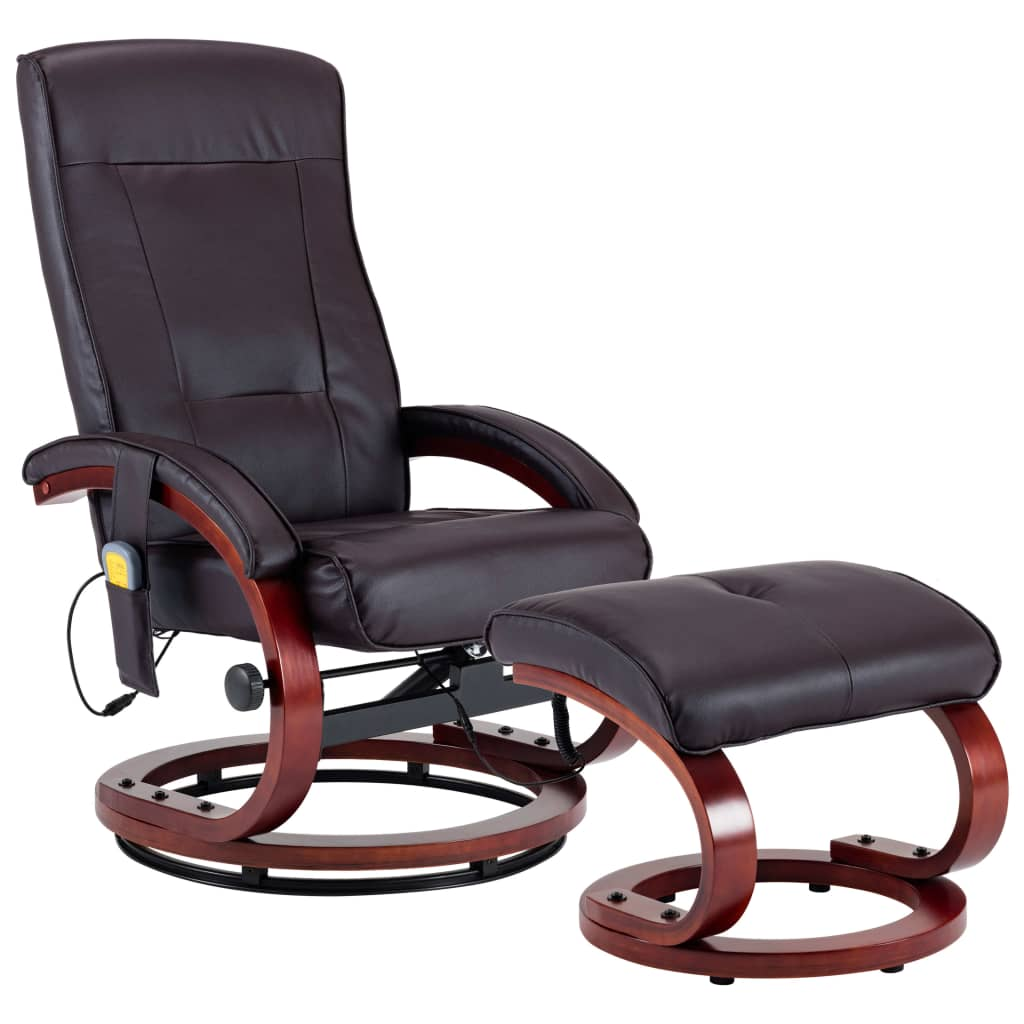 Massage Recliner with Footstool Brown Faux Leather 2