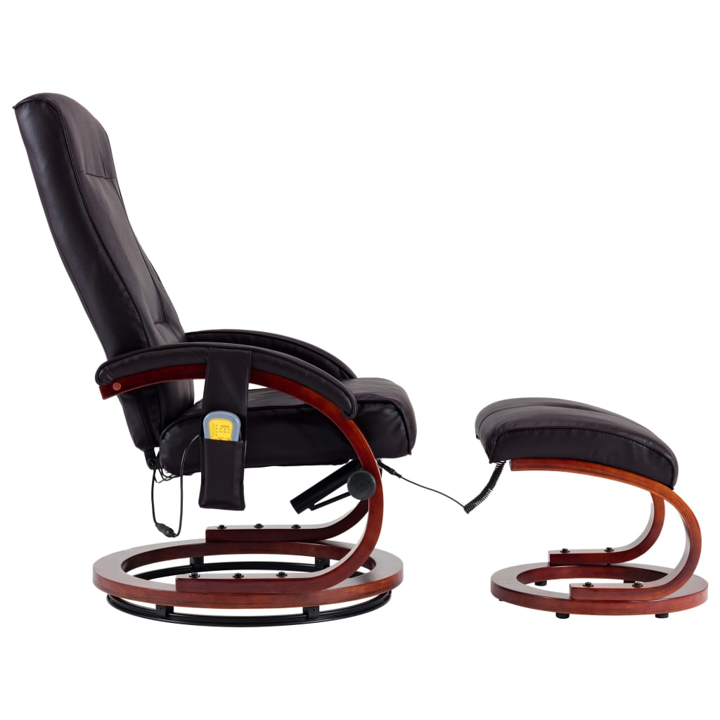 Massage Recliner with Footstool Brown Faux Leather 3