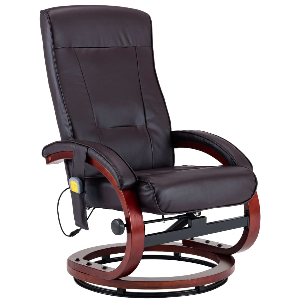 Massage Recliner with Footstool Brown Faux Leather 7