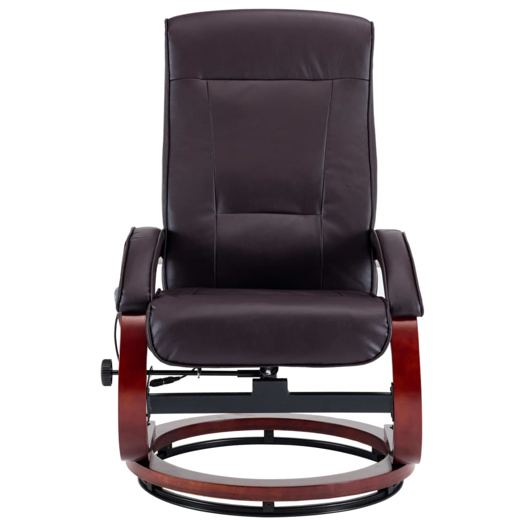 Massage Recliner with Footstool Brown Faux Leather 8