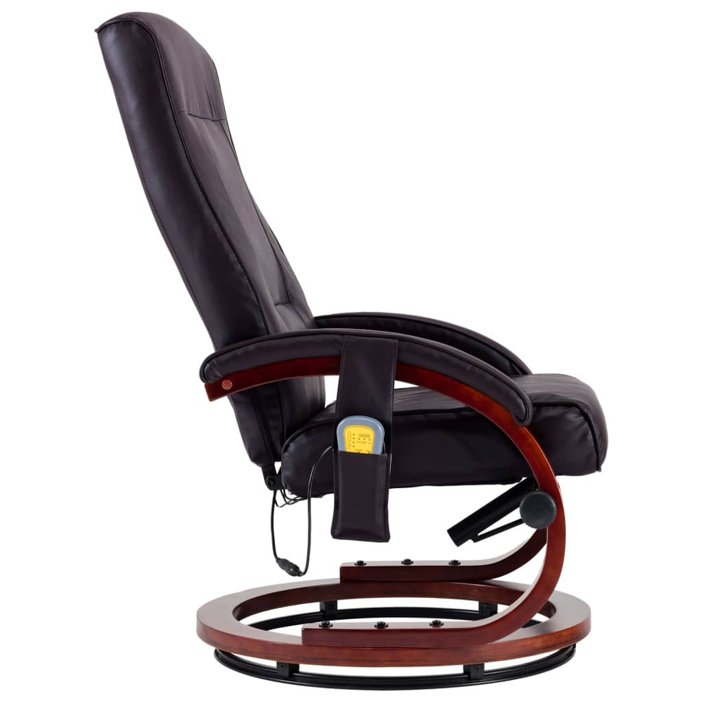 Massage Recliner with Footstool Brown Faux Leather 9