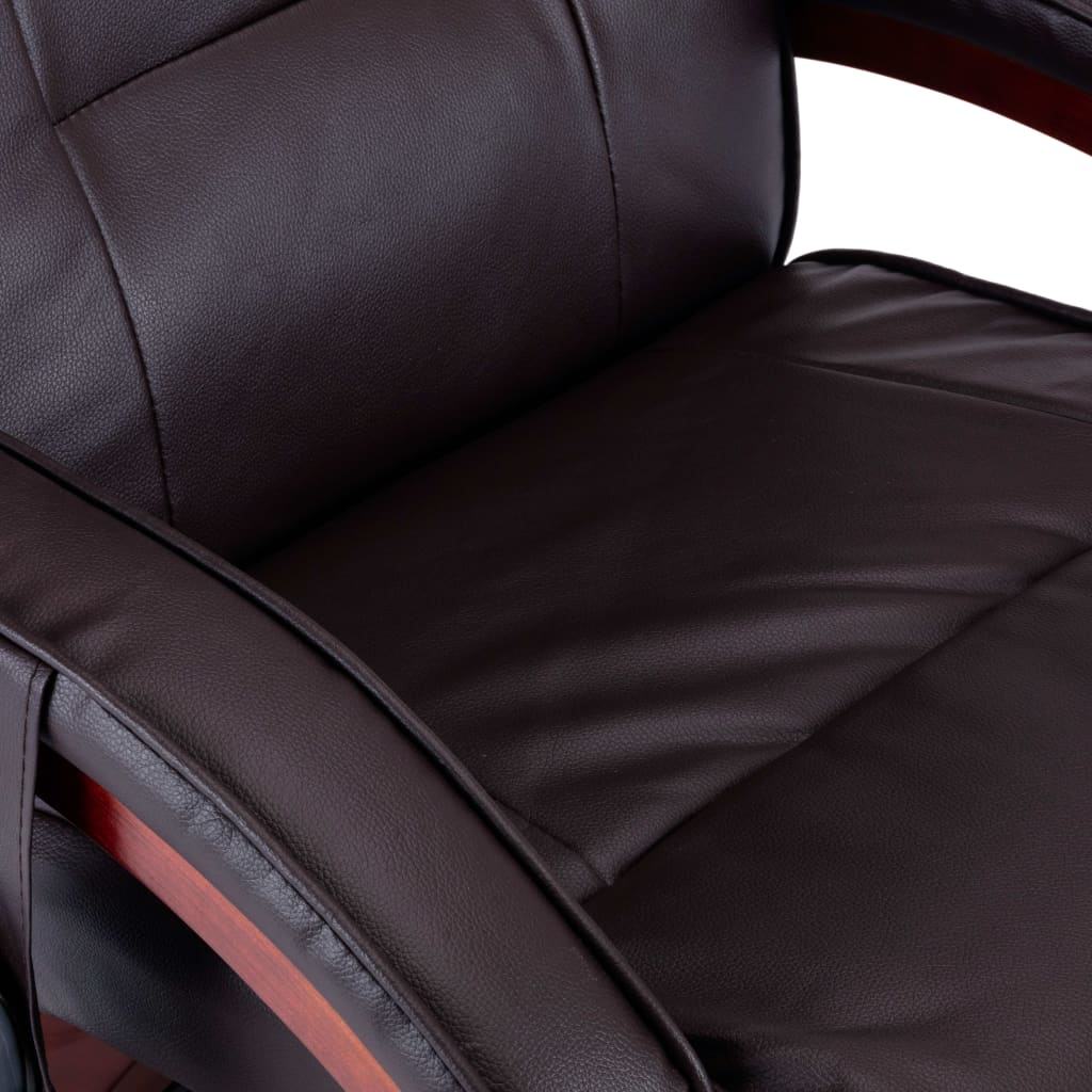 Massage Recliner with Footstool Brown Faux Leather 11