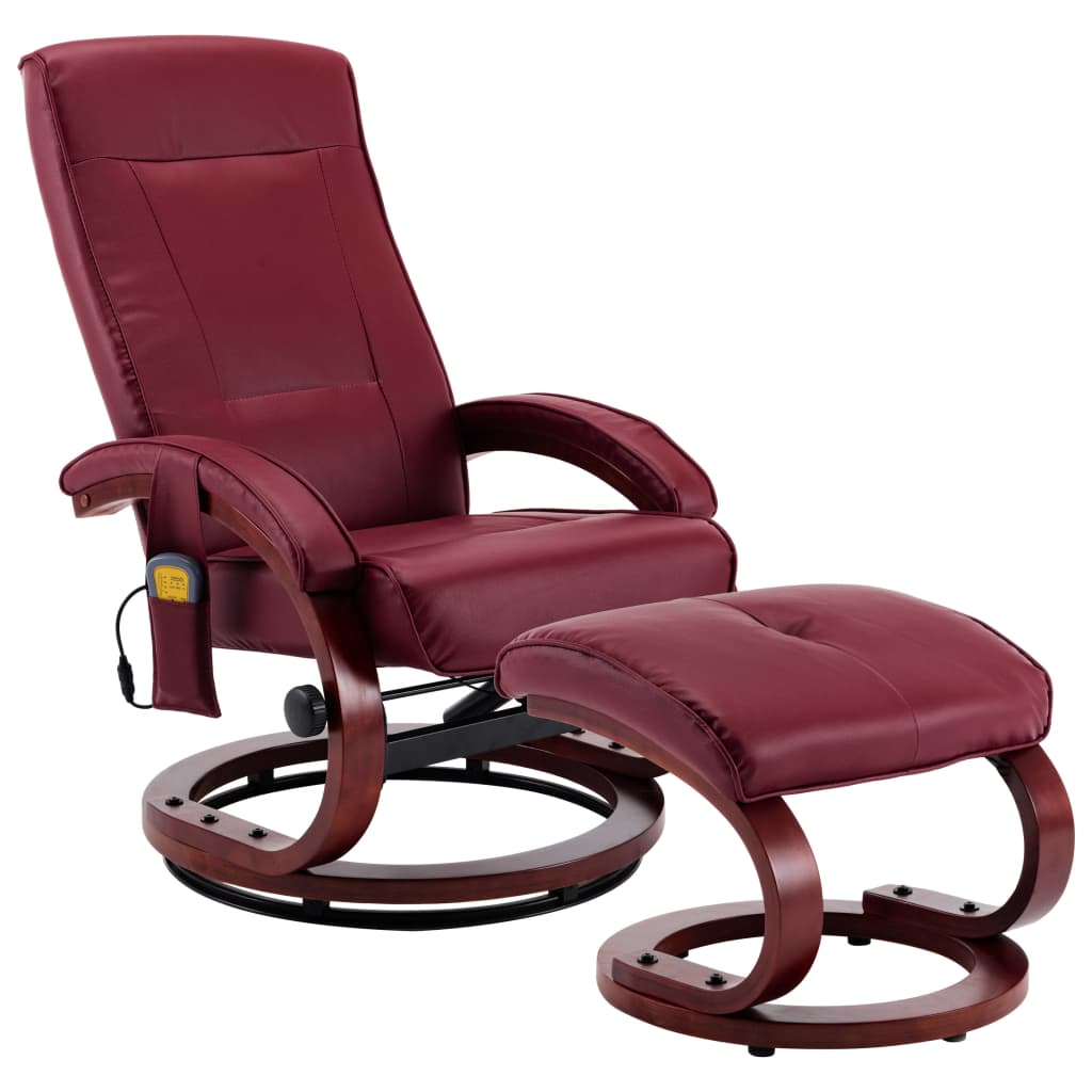 Massage Recliner with Footstool Wine Red Faux Leather 2