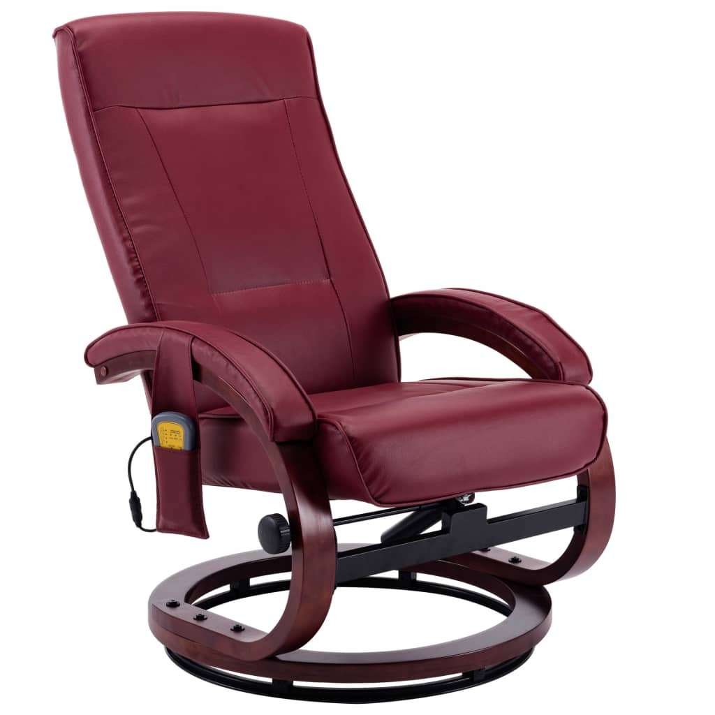 Massage Recliner with Footstool Wine Red Faux Leather 6