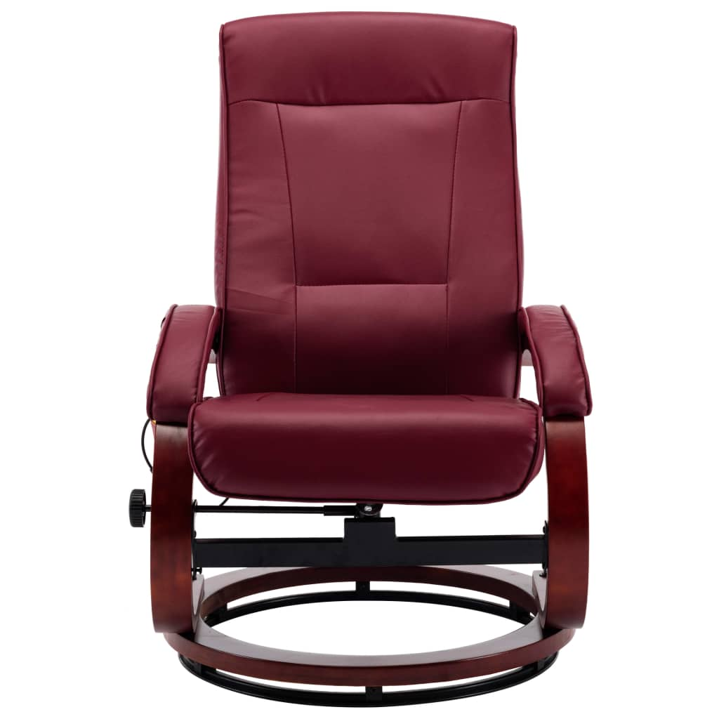 Massage Recliner with Footstool Wine Red Faux Leather 7