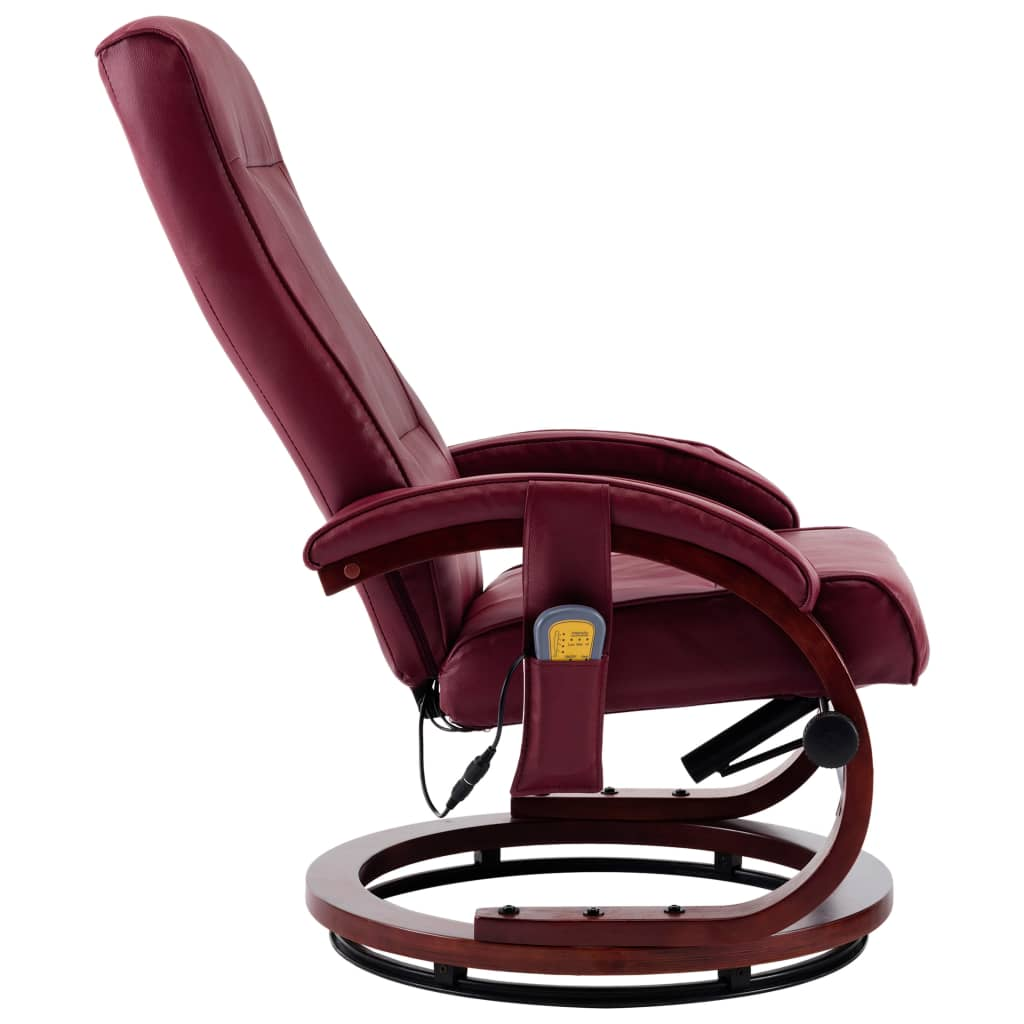 Massage Recliner with Footstool Wine Red Faux Leather 8