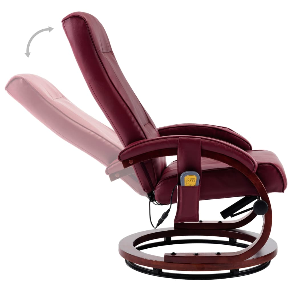 Massage Recliner with Footstool Wine Red Faux Leather 9