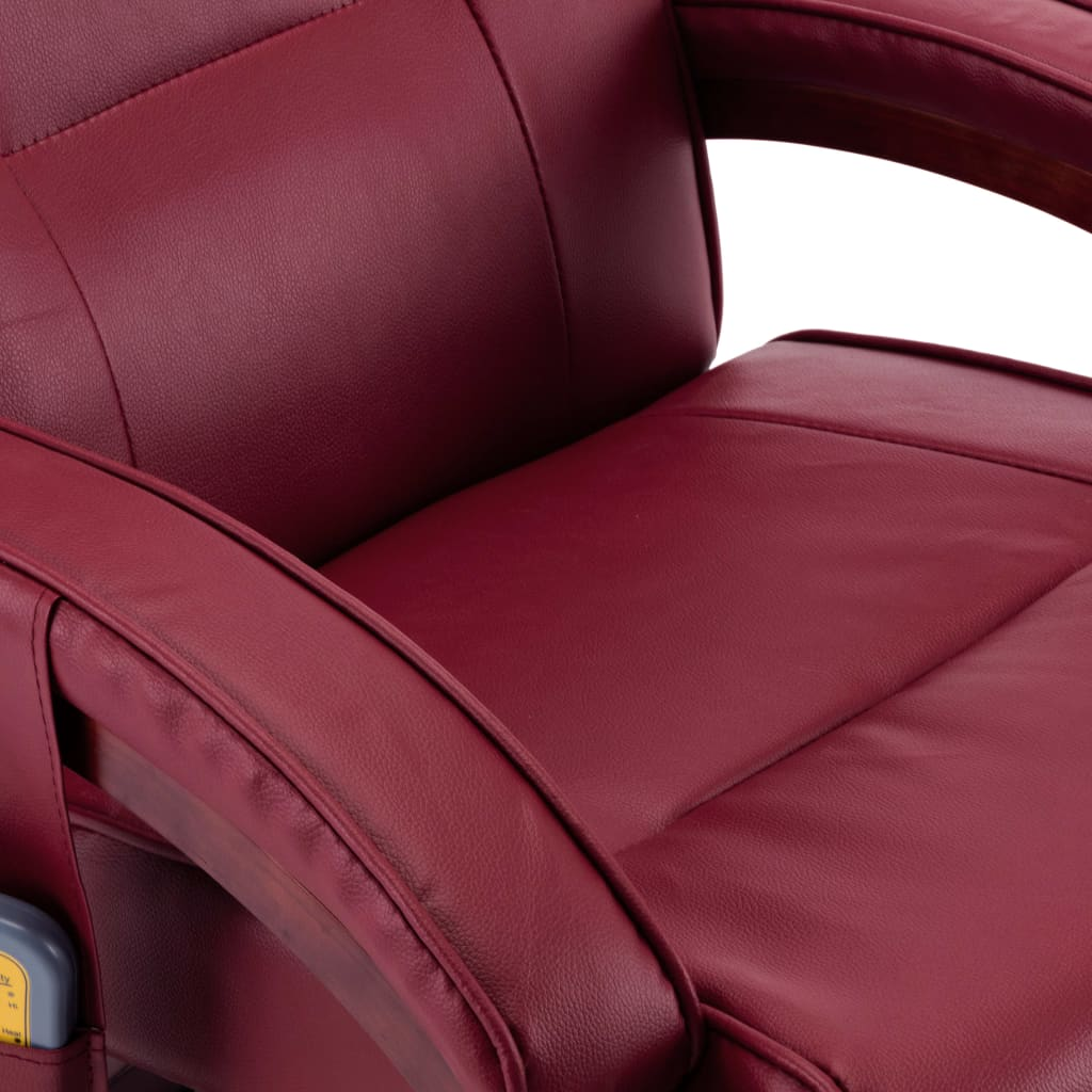 Massage Recliner with Footstool Wine Red Faux Leather 10