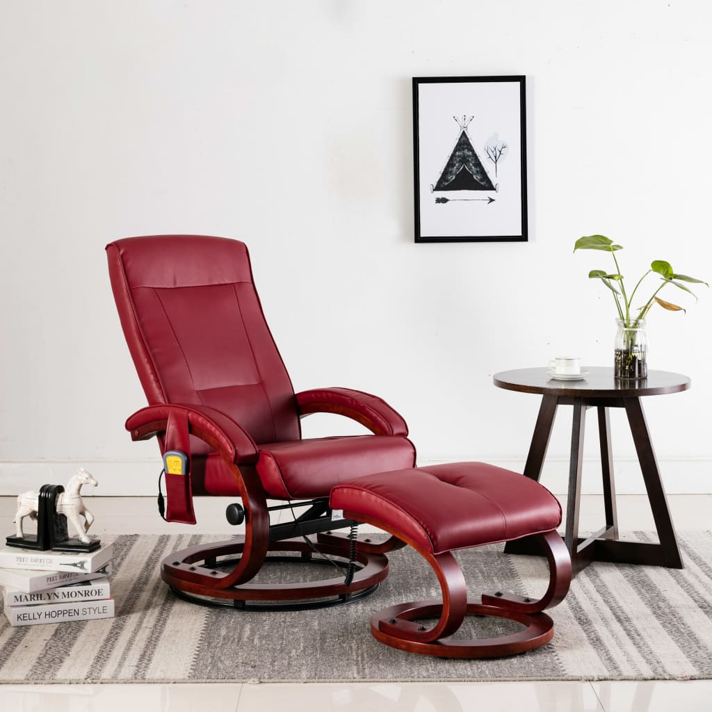 Massage Recliner with Footstool Wine Red Faux Leather 1