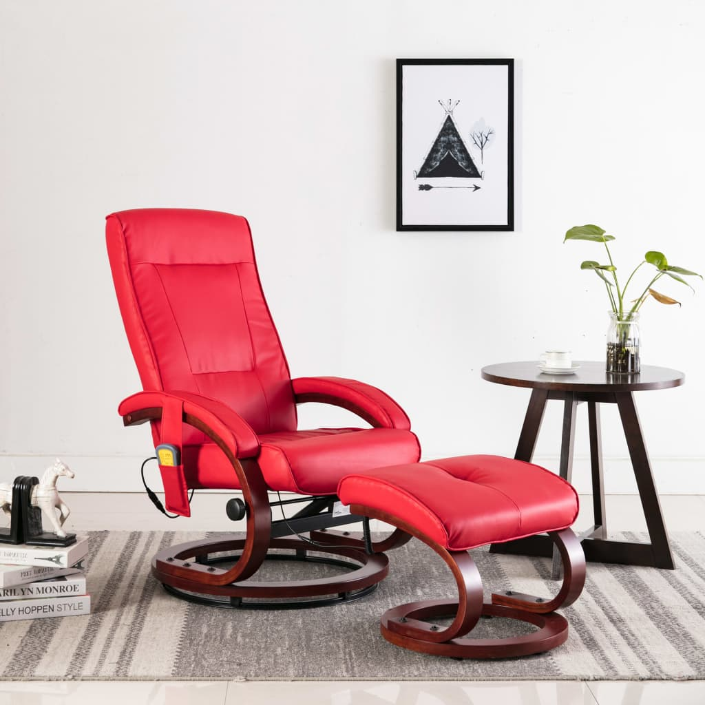 Massage Recliner with Footstool Red Faux Leather