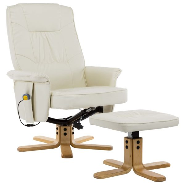 TV Massage Recliner with Footstool Cream Faux Leather 2