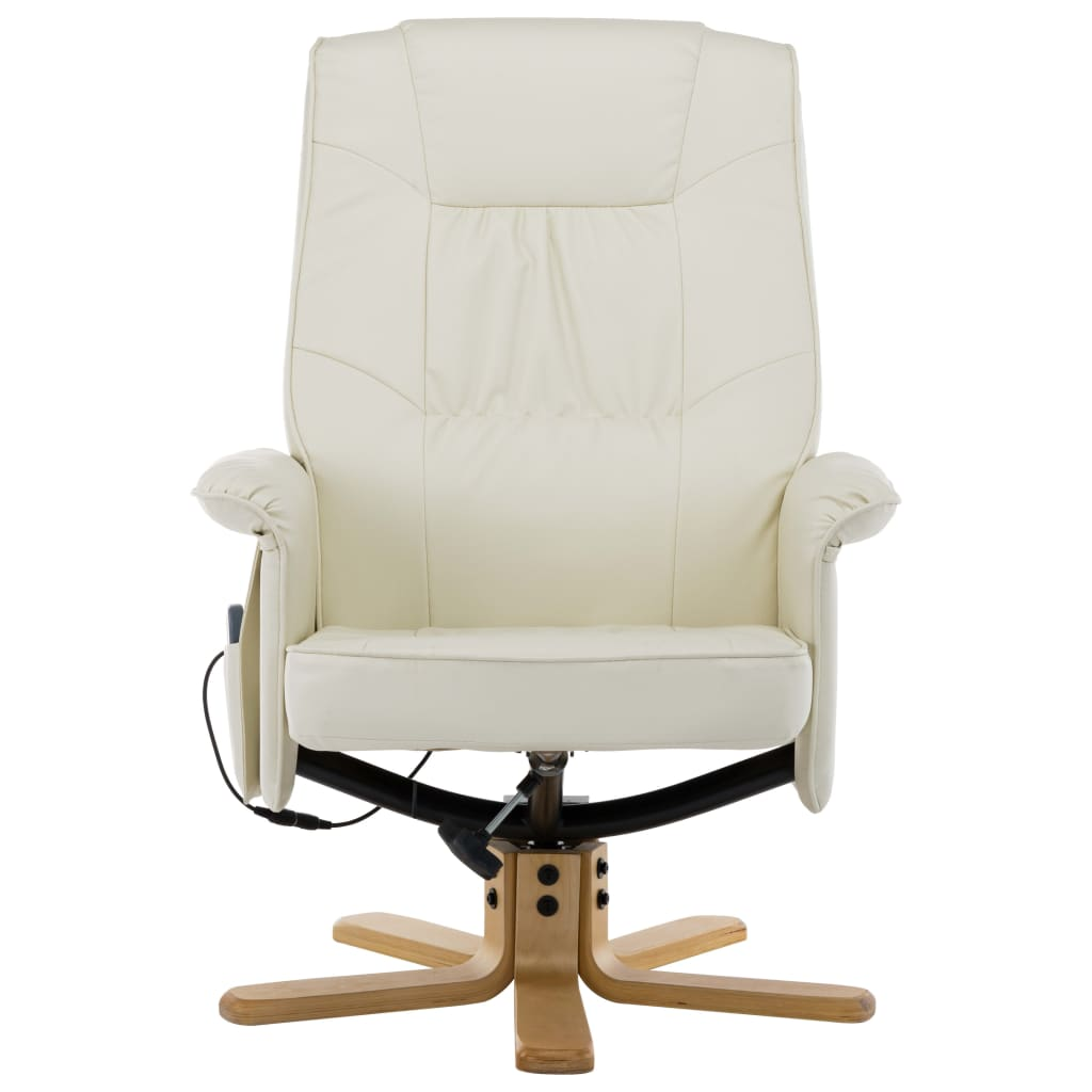TV Massage Recliner with Footstool Cream Faux Leather 5