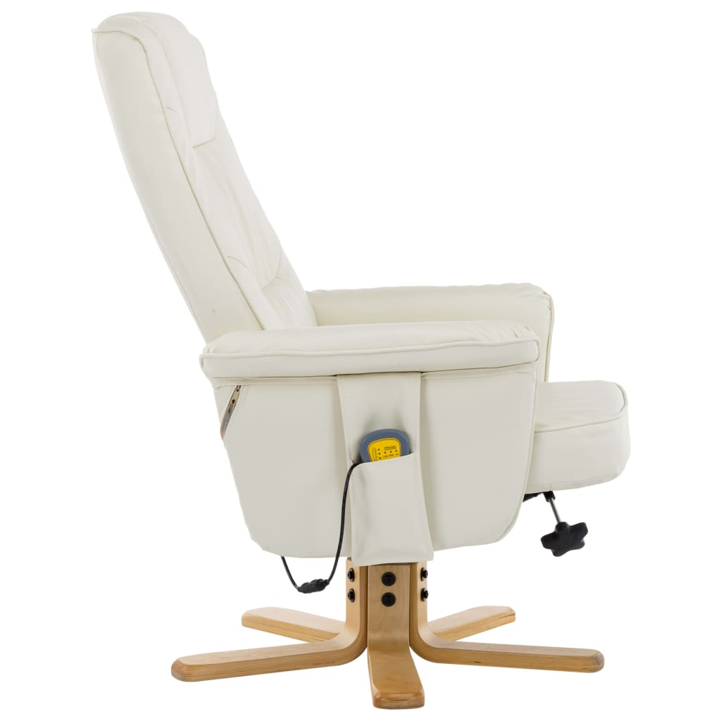 TV Massage Recliner with Footstool Cream Faux Leather 6