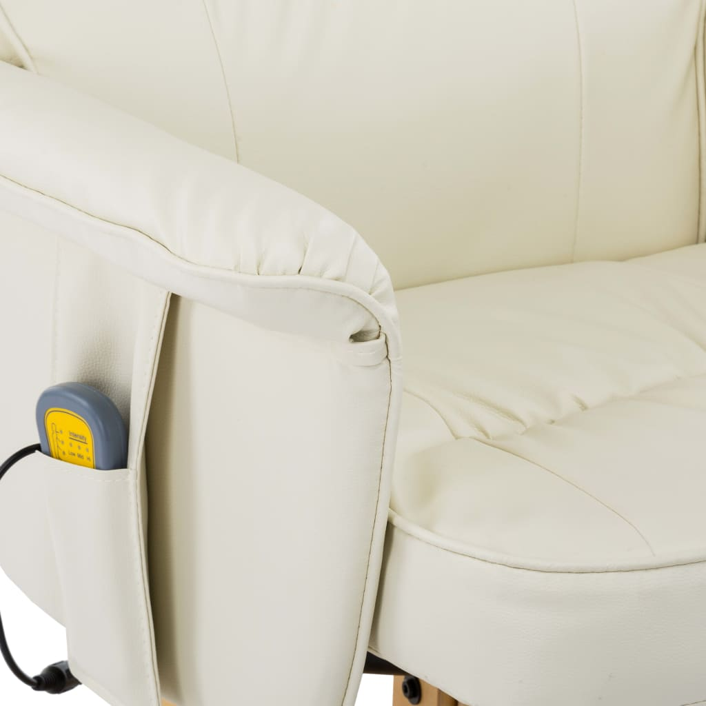 TV Massage Recliner with Footstool Cream Faux Leather 8