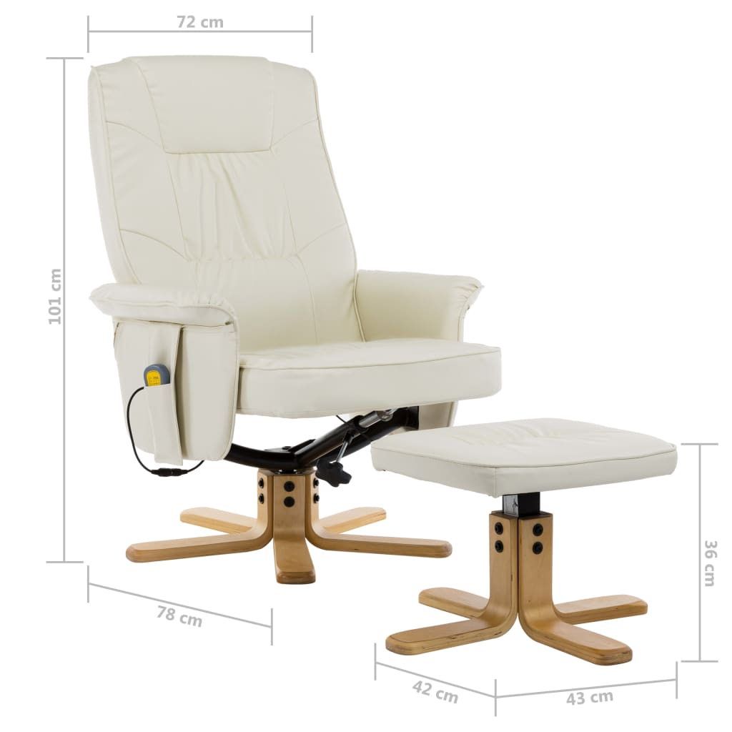 TV Massage Recliner with Footstool Cream Faux Leather 10