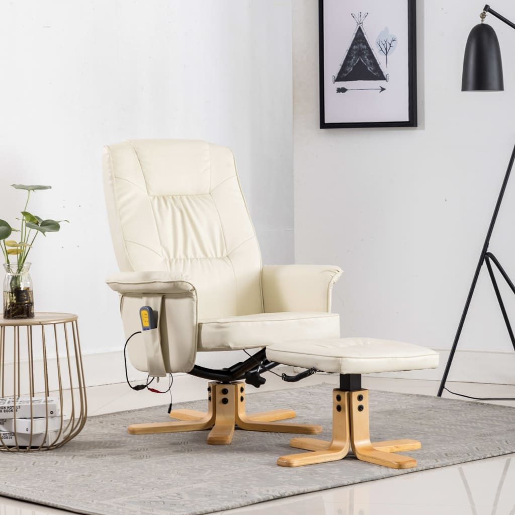 TV Massage Recliner with Footstool Cream Faux Leather 1