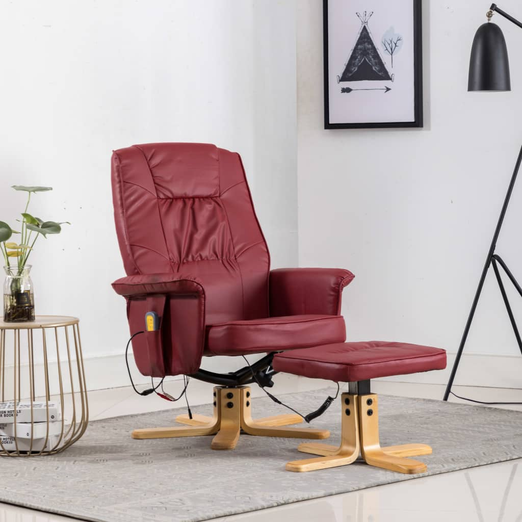 TV Massage Recliner with Footstool Wine Red Faux Leather