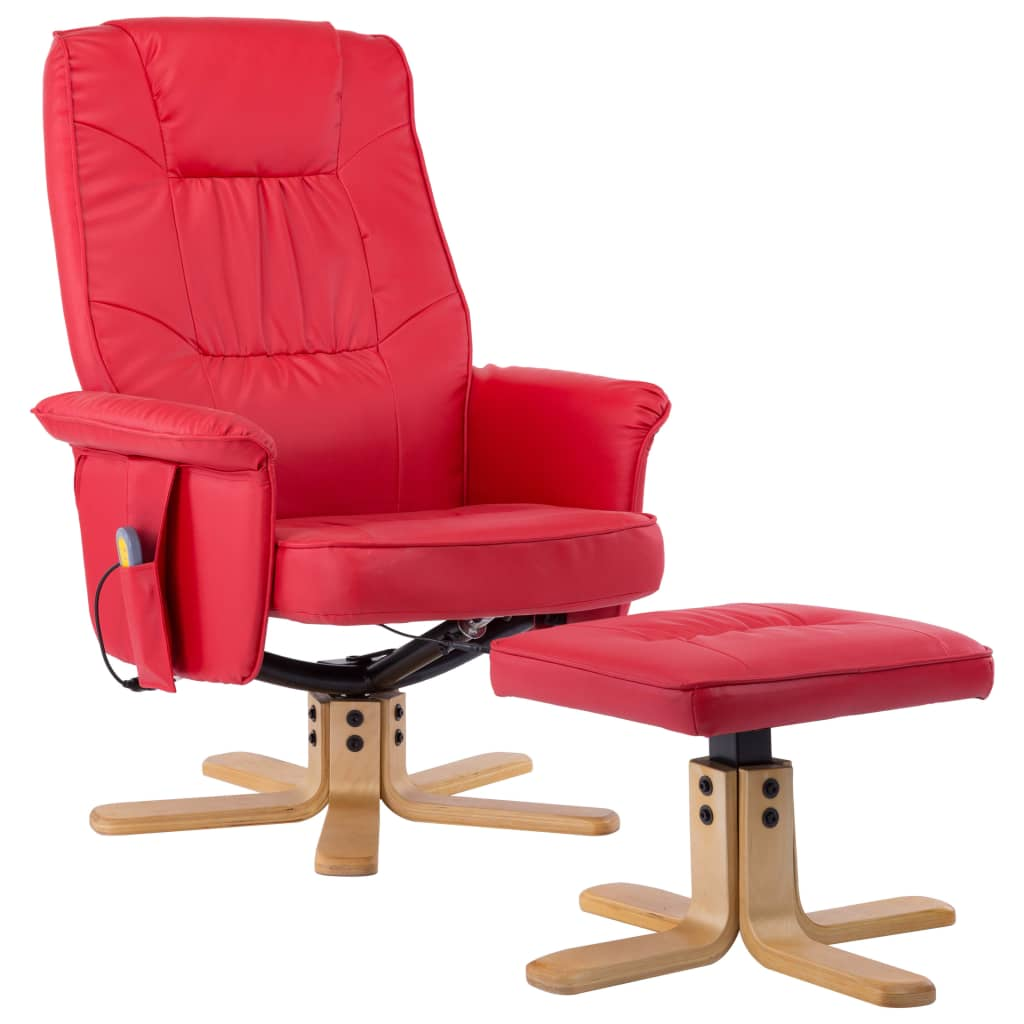 TV Massage Recliner with Footstool Red Faux Leather 2