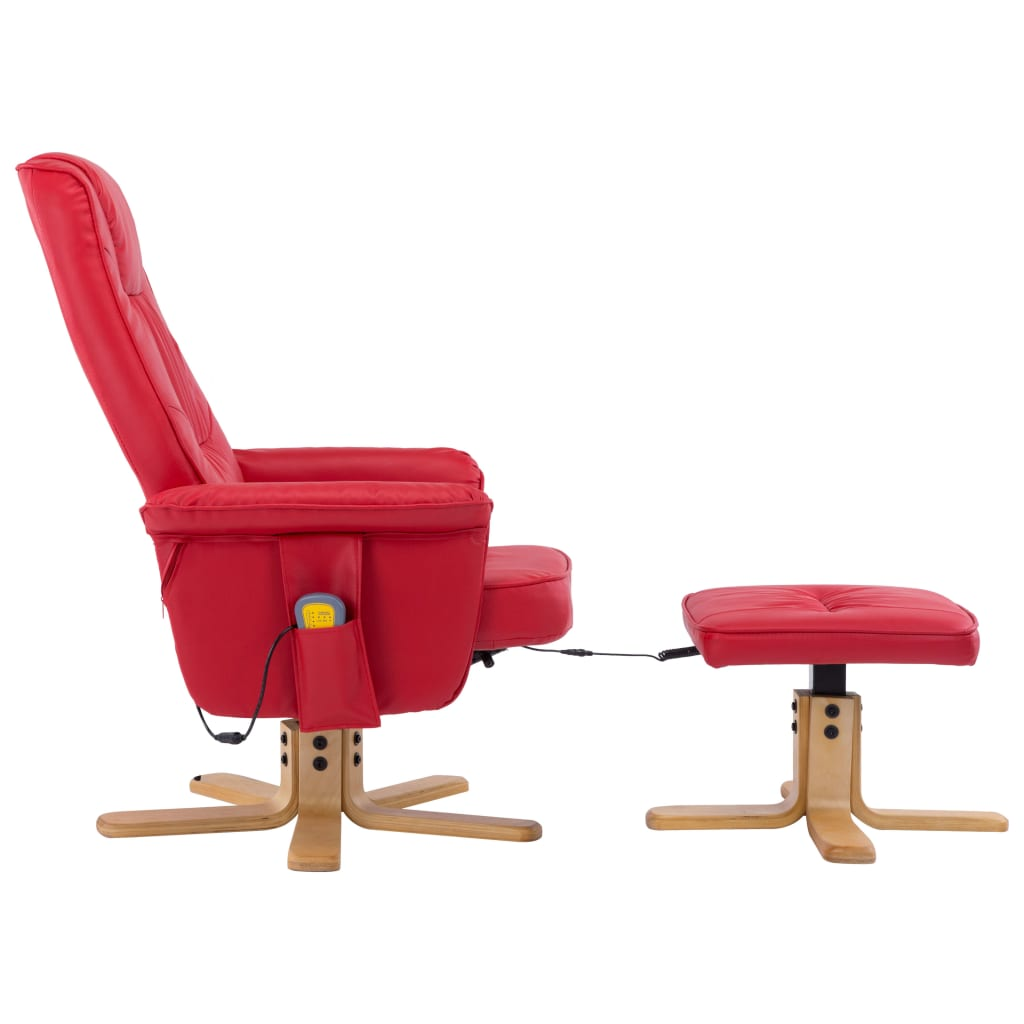TV Massage Recliner with Footstool Red Faux Leather 4