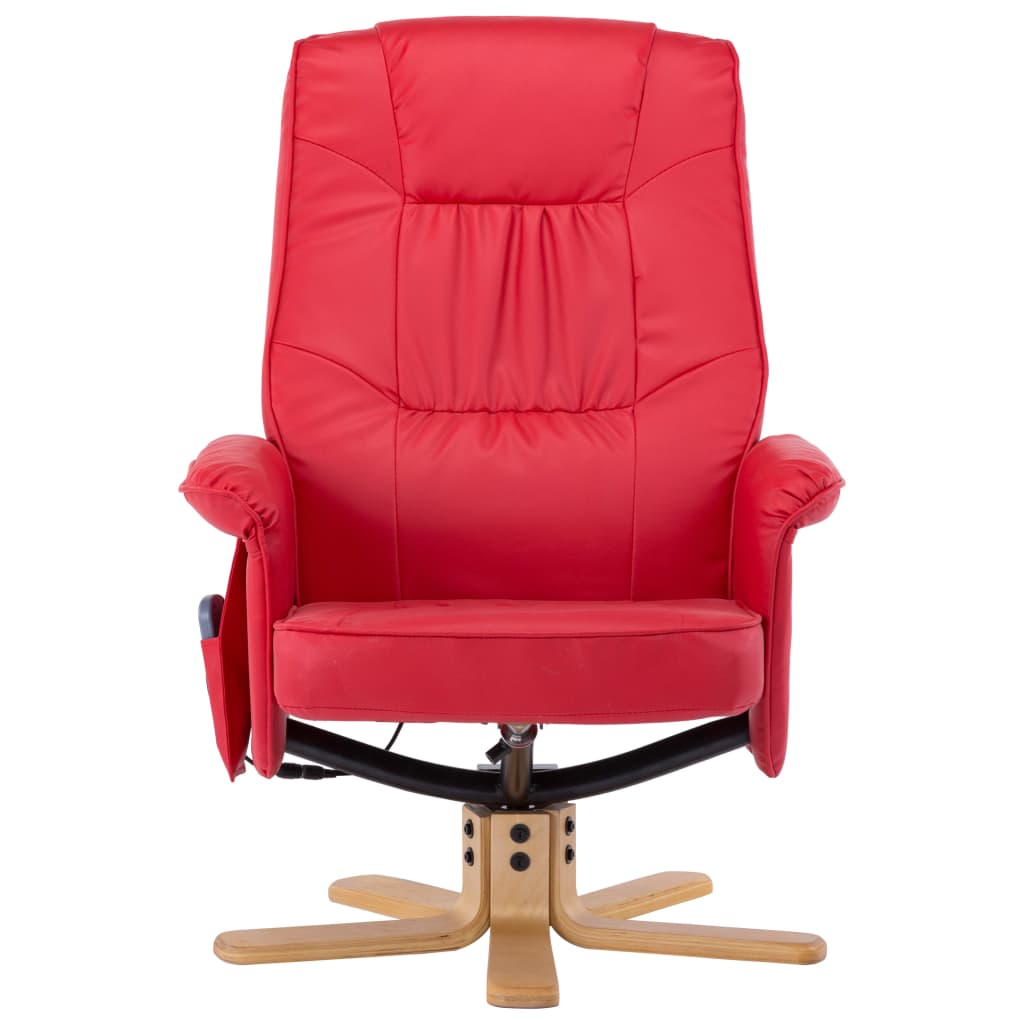 TV Massage Recliner with Footstool Red Faux Leather 5