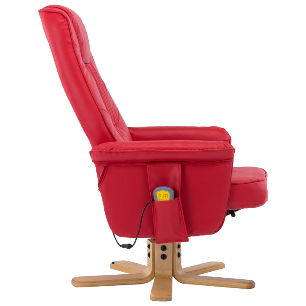 TV Massage Recliner with Footstool Red Faux Leather 6