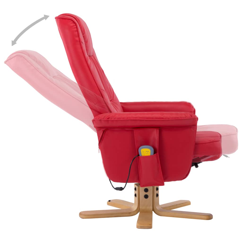 TV Massage Recliner with Footstool Red Faux Leather 7