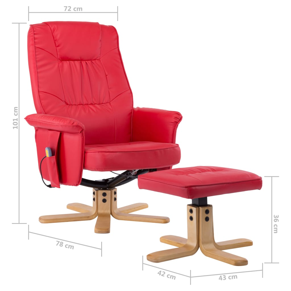 TV Massage Recliner with Footstool Red Faux Leather 10