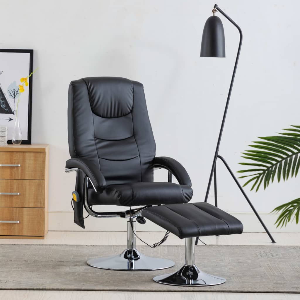 Massage Recliner with Footstool Black Faux Leather