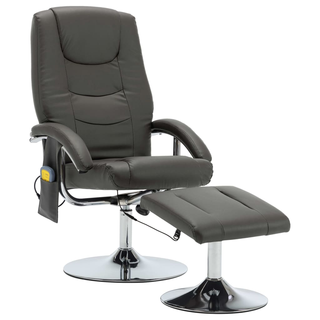 Massage Recliner with Footstool Grey Faux Leather 2