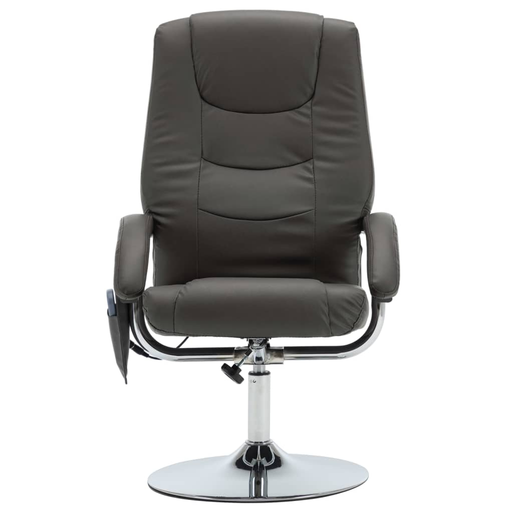 Massage Recliner with Footstool Grey Faux Leather 4