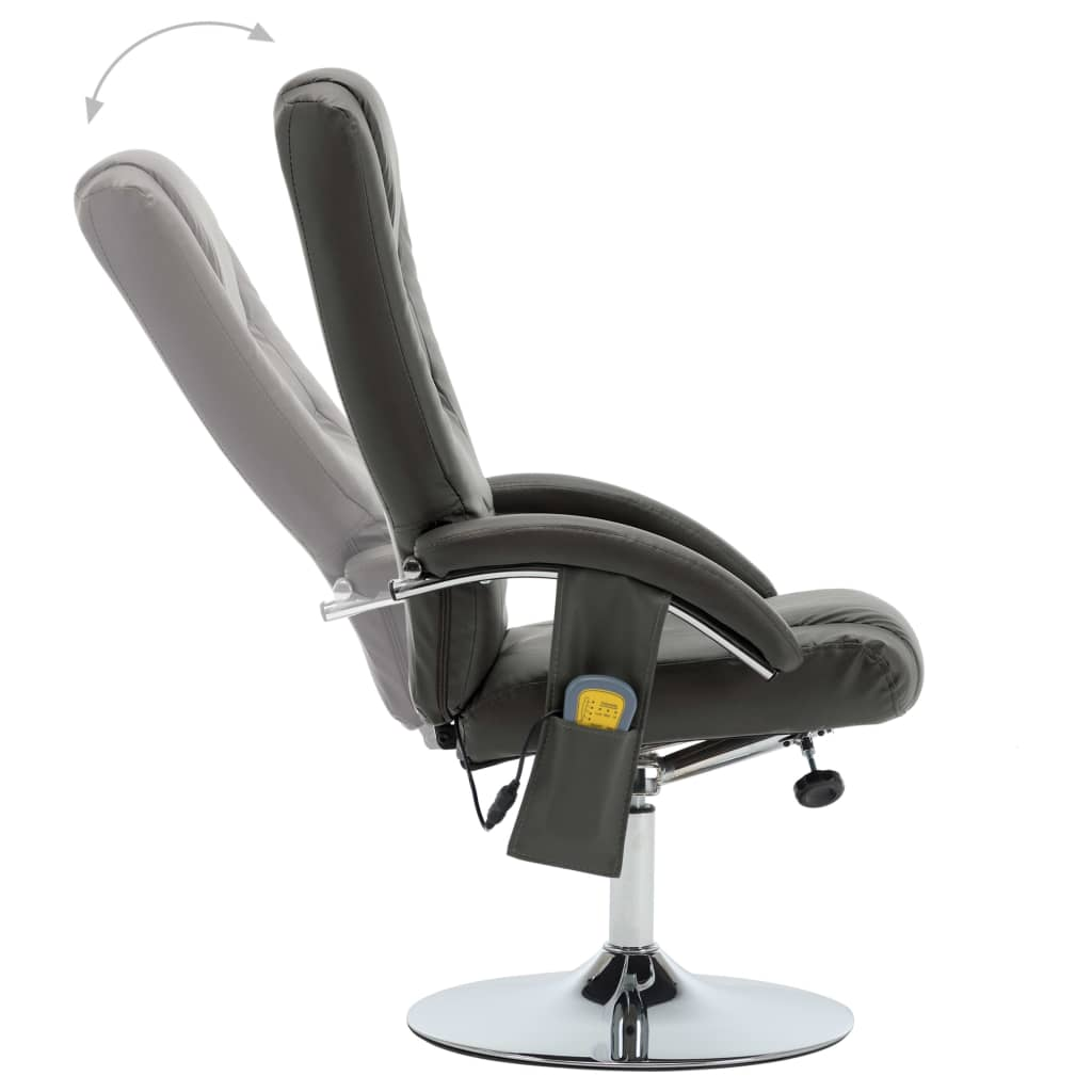 Massage Recliner with Footstool Grey Faux Leather 5