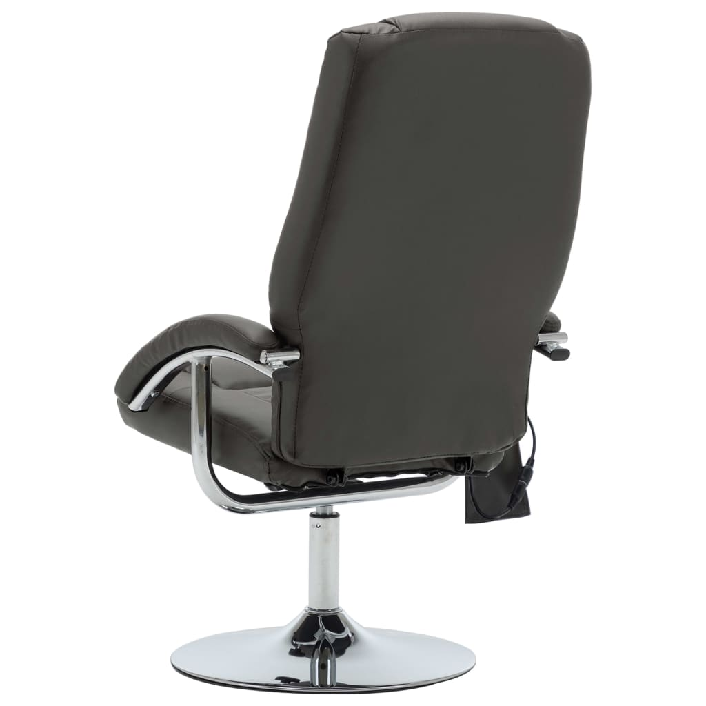 Massage Recliner with Footstool Grey Faux Leather 7