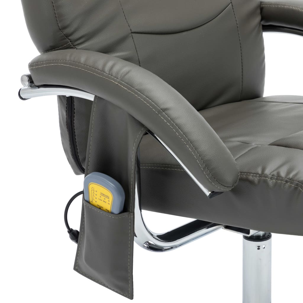 Massage Recliner with Footstool Grey Faux Leather 9