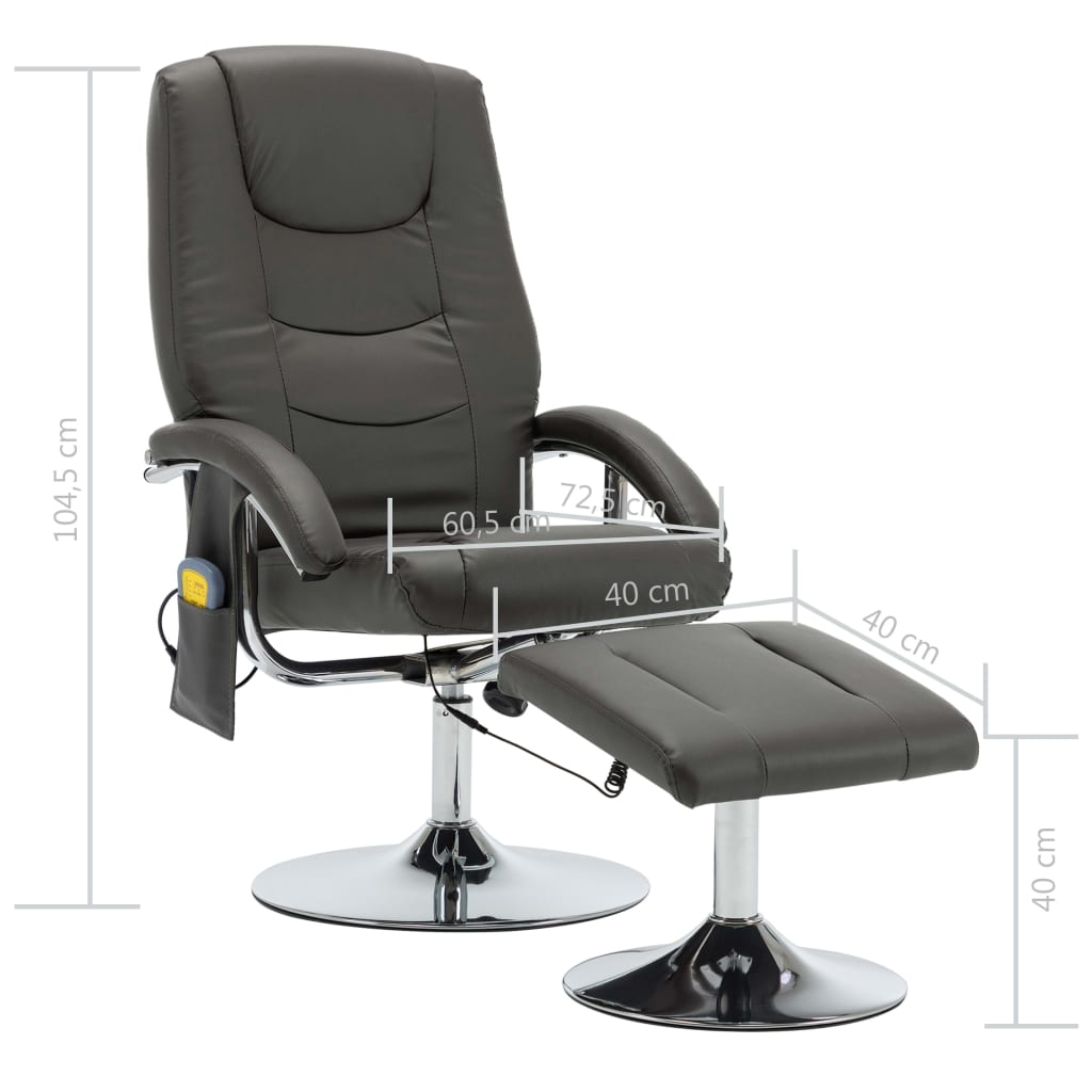 Massage Recliner with Footstool Grey Faux Leather 10