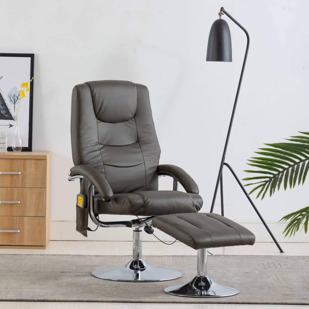 Massage Recliner with Footstool Grey Faux Leather 1
