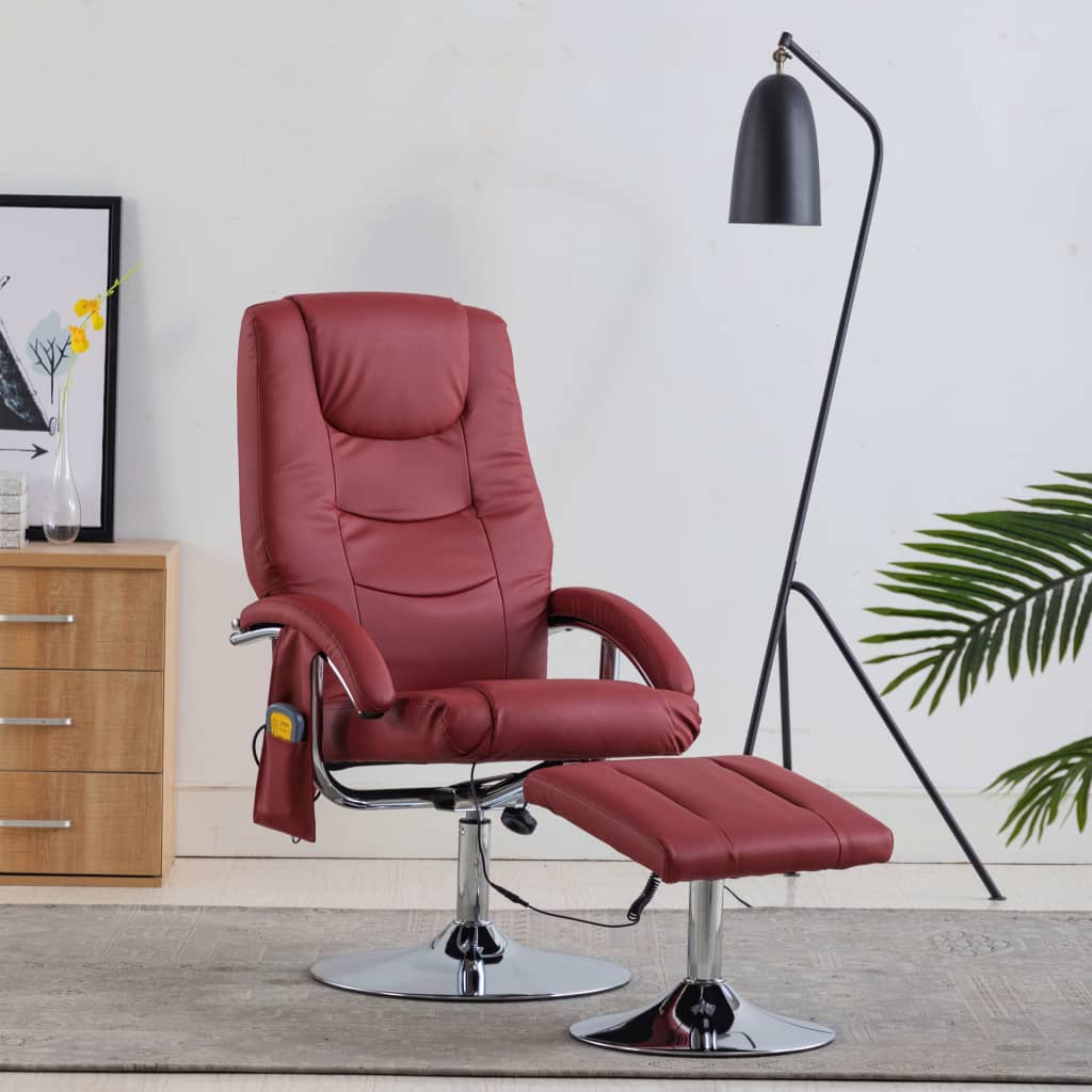 Massage Recliner with Footstool Wine Red Faux Leather
