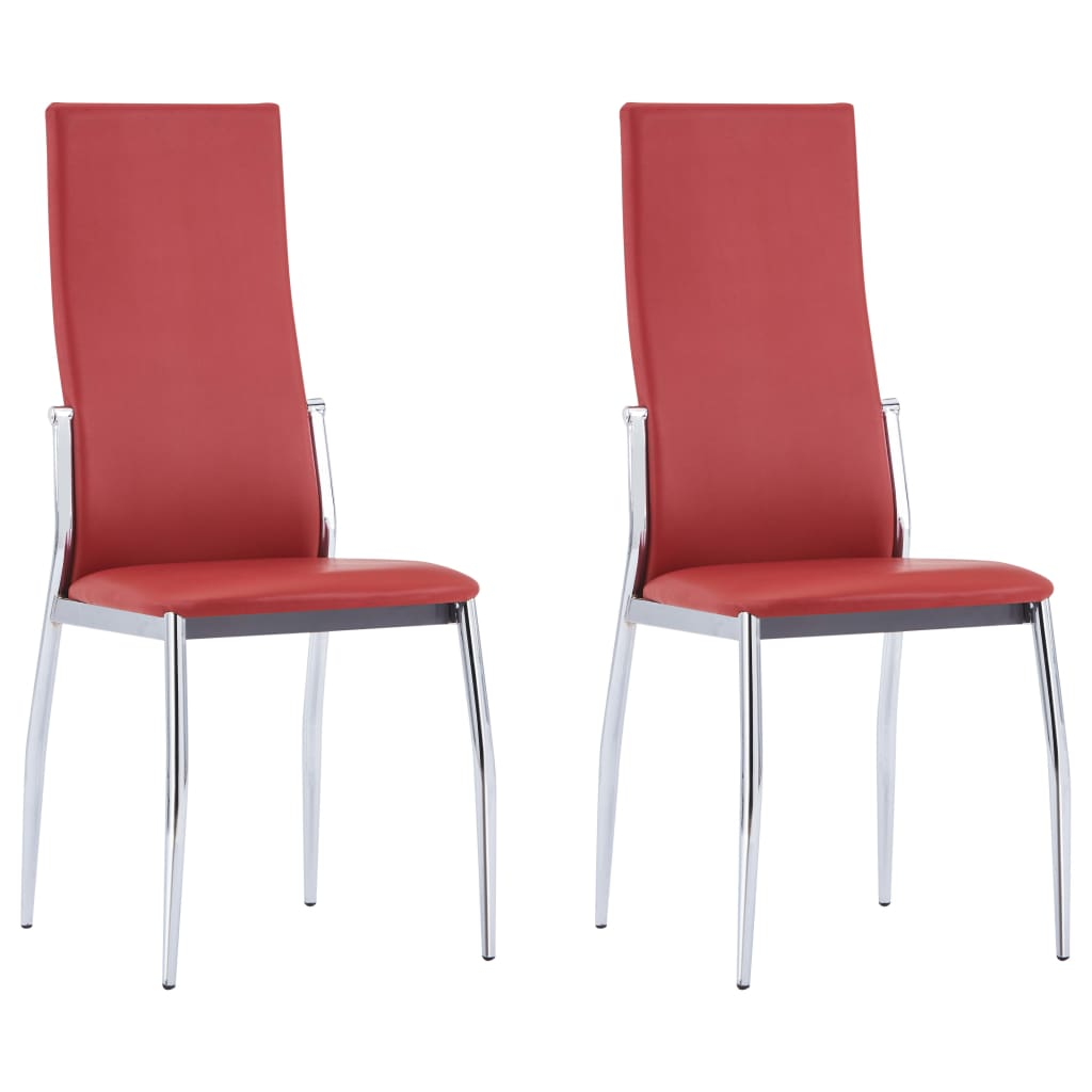 Dining Chairs 2 pcs Red Faux Leather
