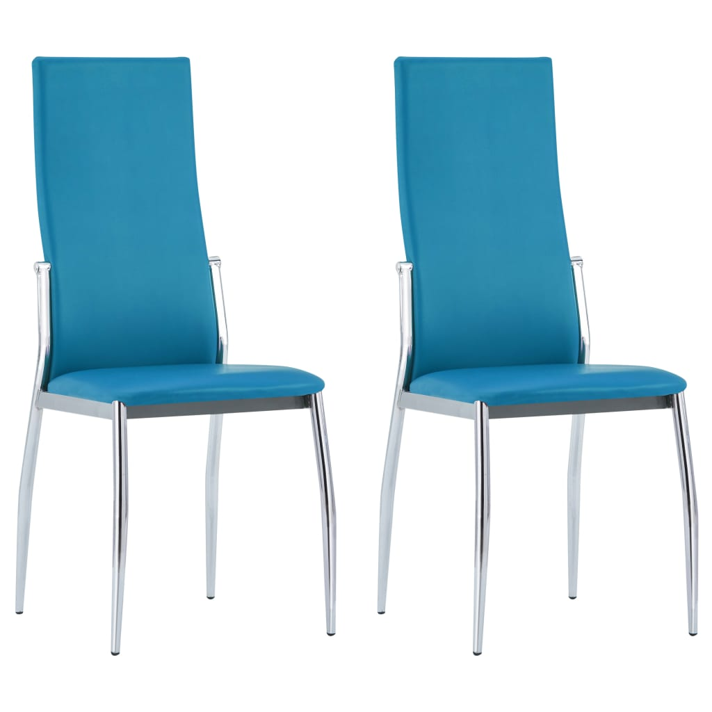 Dining Chairs 2 pcs Blue Faux Leather 1
