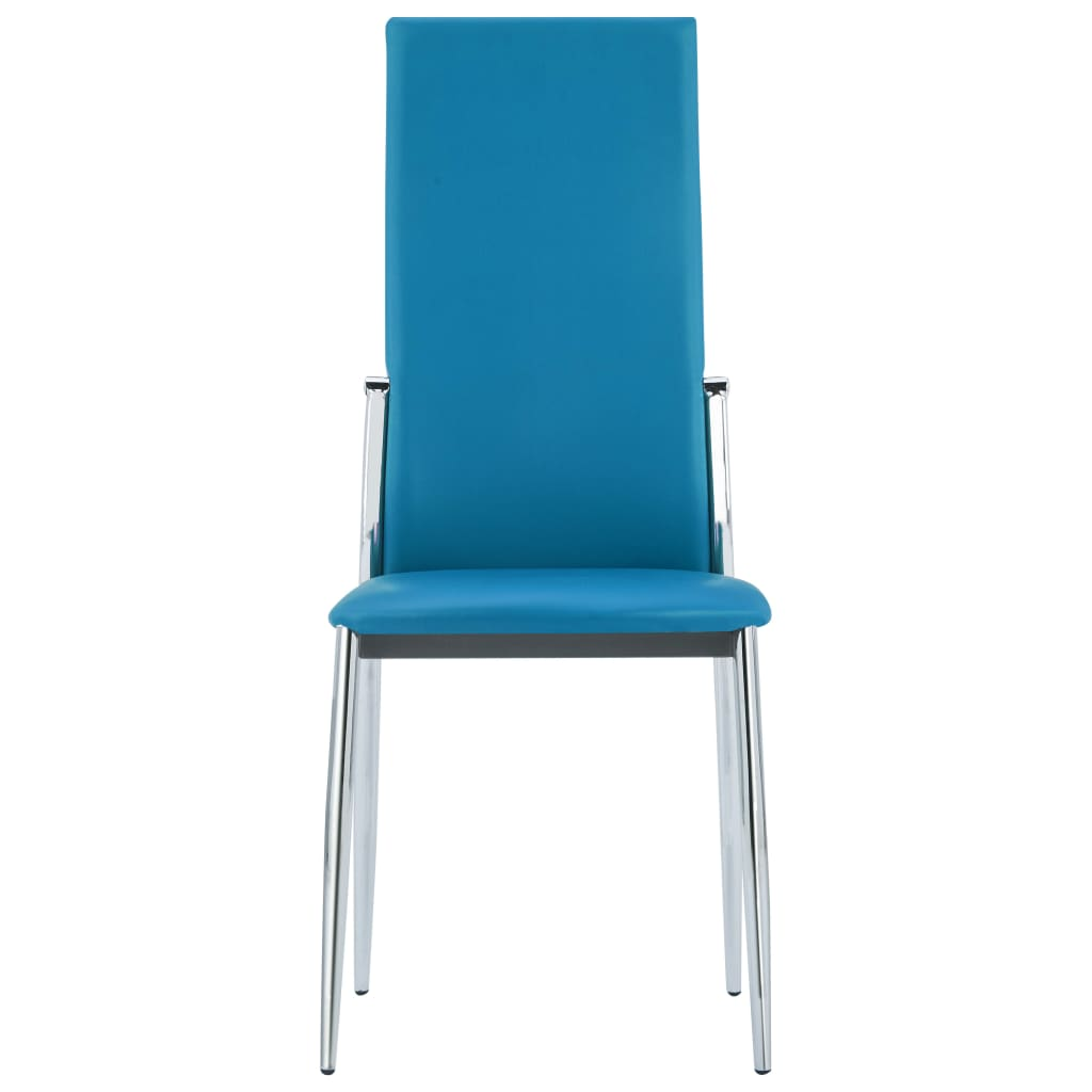 Dining Chairs 2 pcs Blue Faux Leather 3