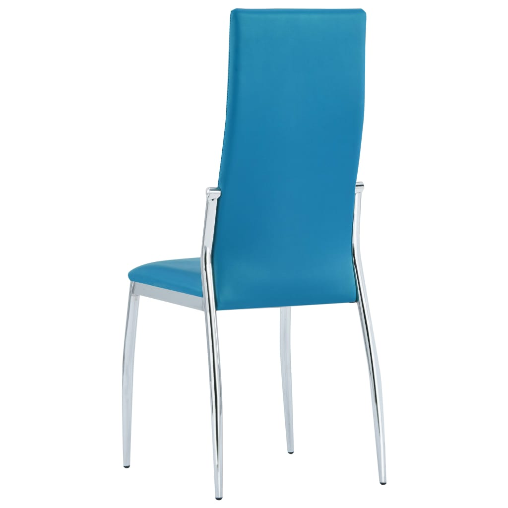 Dining Chairs 2 pcs Blue Faux Leather 5