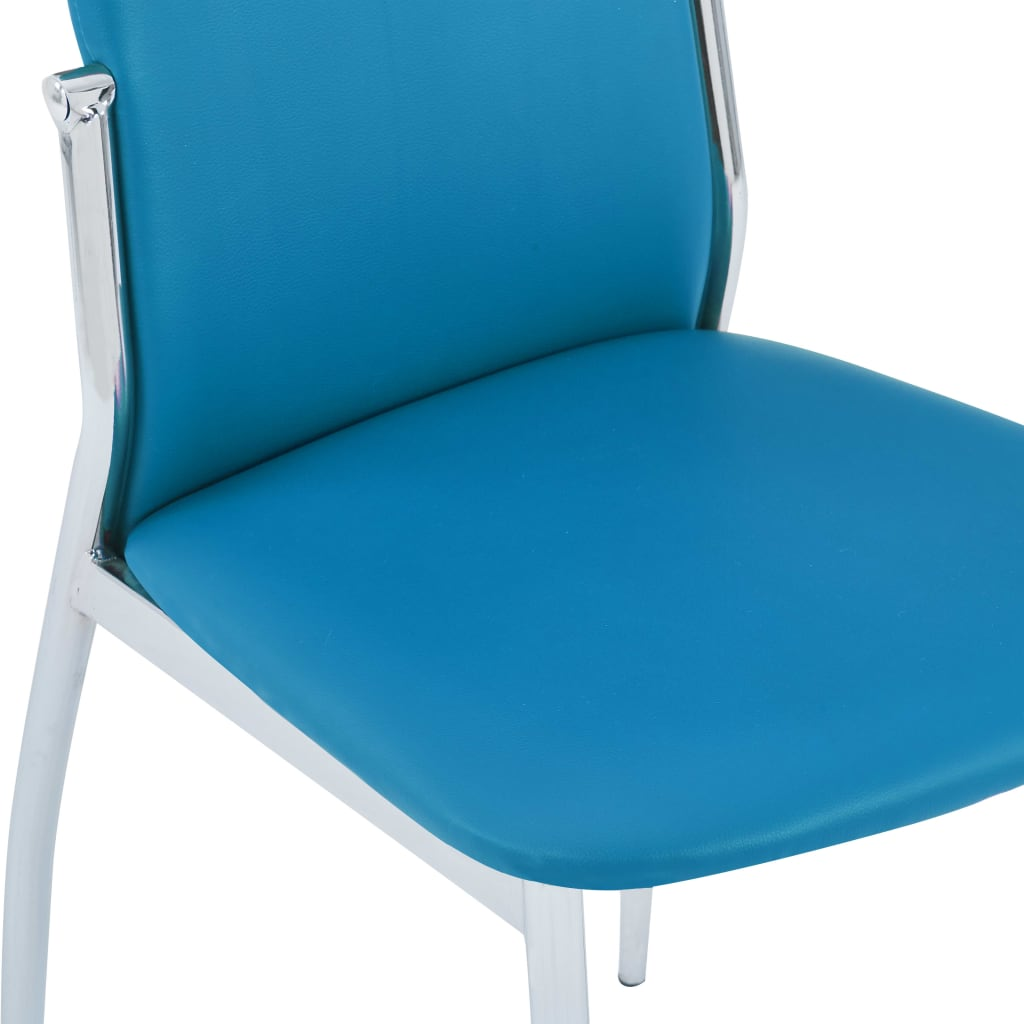 Dining Chairs 2 pcs Blue Faux Leather 6