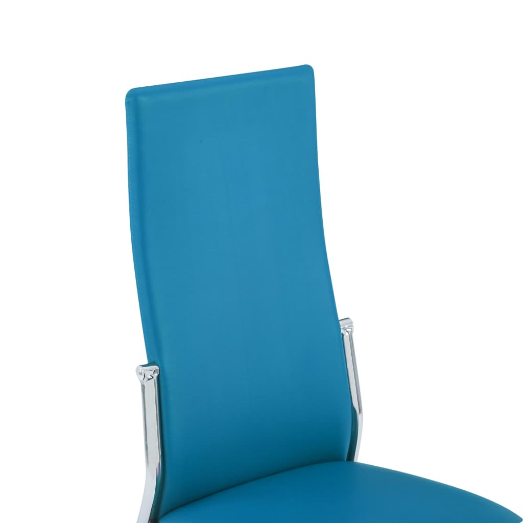 Dining Chairs 2 pcs Blue Faux Leather 7