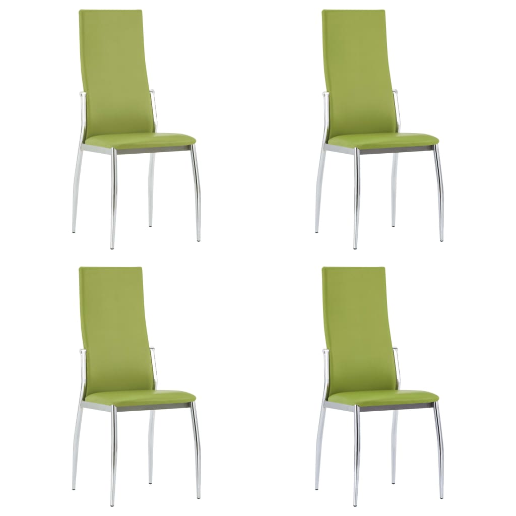 Dining Chairs 4 pcs Green Faux Leather 1