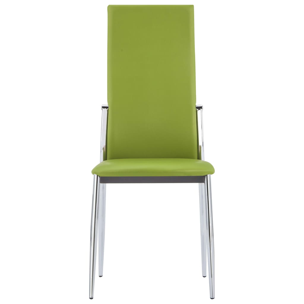 Dining Chairs 4 pcs Green Faux Leather 3