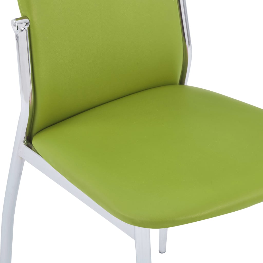 Dining Chairs 4 pcs Green Faux Leather 6