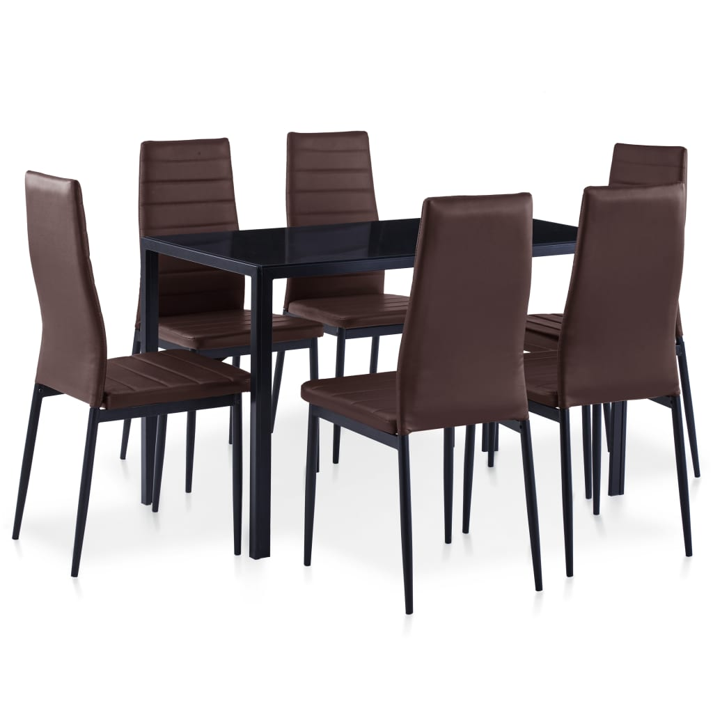 Seven Piece Dining Set Brown