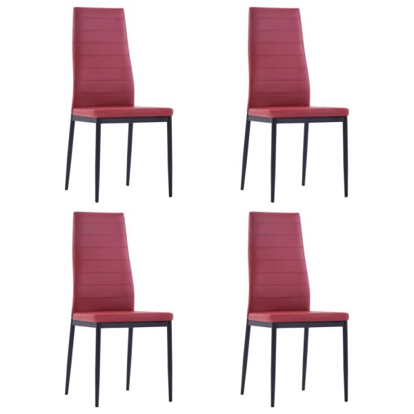 Five Piece Dining Set Wine Red 6